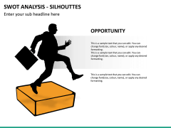 SWOT analysis with silhouettes PPT slide 11