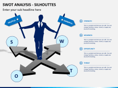 SWOT analysis with silhouettes PPT slide 1