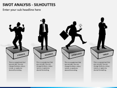 SWOT analysis with silhouettes PPT slide 2