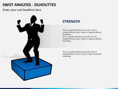 SWOT analysis with silhouettes PPT slide 3