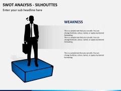 SWOT analysis with silhouettes PPT slide 4