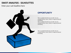 SWOT analysis with silhouettes PPT slide 5