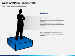 SWOT analysis with silhouettes PPT slide 6