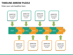 Timeline arrow puzzle PPT slide 11