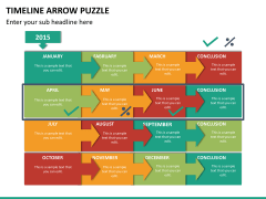 Timeline arrow puzzle PPT slide 13