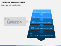 Timeline arrow puzzle PPT slide 1