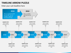Timeline arrow puzzle PPT slide 2