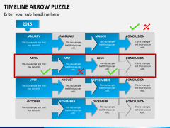 Timeline arrow puzzle PPT slide 5