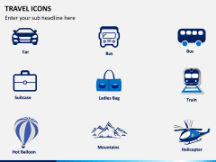 Travel icons PPT slide 1