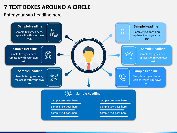 7 Text Boxes Around a Circle PPT slide 1