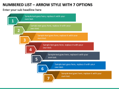 Numbered List – Arrow Style with 7 Options PPT slide 2