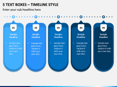 5 Text Boxes – Timeline Style PPT slide 1