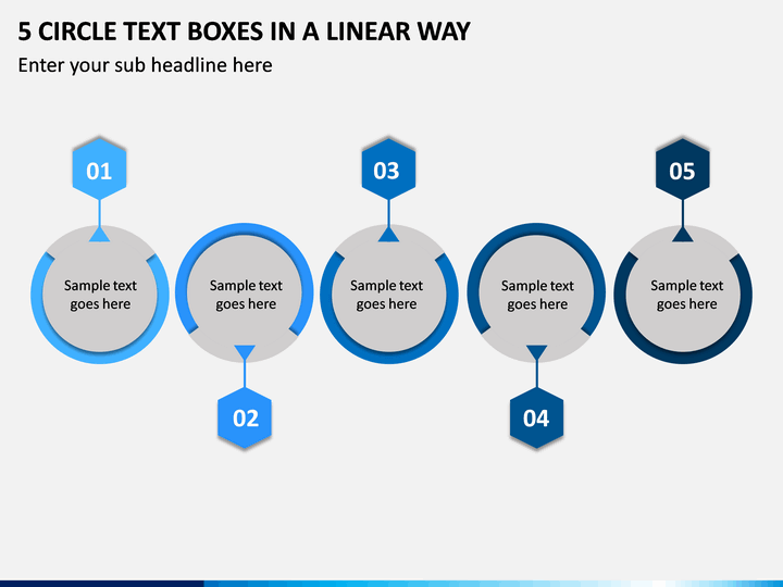 5 Circle Text Boxes in a Linear Way PPT slide 1