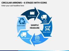 Circular Arrows – 6 Stages With Icons PPT Slide 1