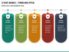5 Text Boxes – Timeline Style PPT slide 2