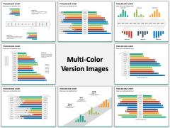 Timeline bar chart multicolor combined