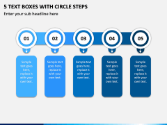 5 Text Boxes with Circle Steps PPT slide 1