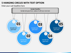 5 Hanging Circles with Text Option PPT slide 1