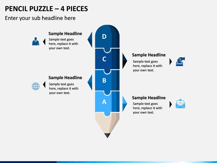 Pencil Puzzle – 4 Pieces PPT slide 1