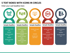 5 Text Boxes with Icons in Circles PPT slide 2