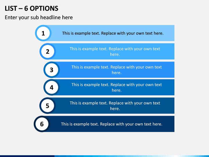 List – 6 Options PPT Slide 1