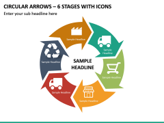 Circular Arrows – 6 Stages With Icons PPT Slide 2