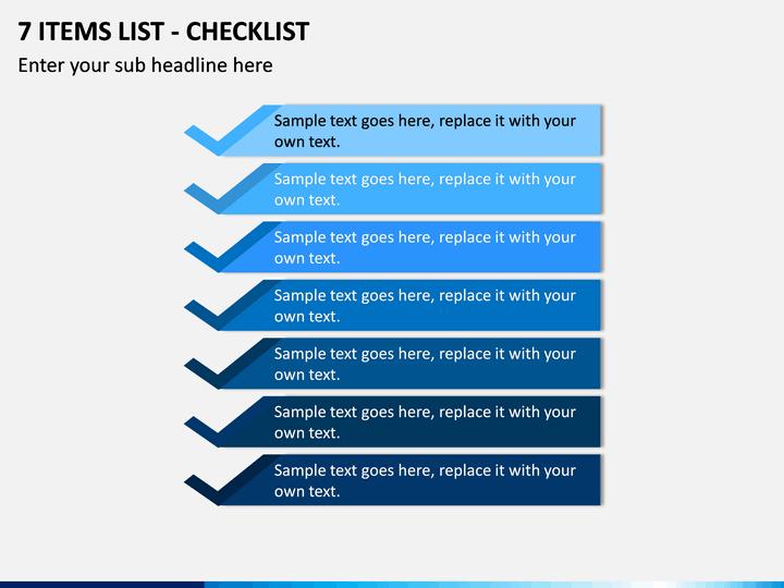 7 Items List - Checklist PPT slide 1