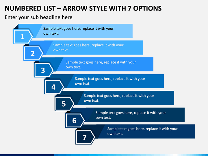 Numbered List – Arrow Style with 7 Options PPT slide 1