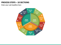 Process Steps – 10 Sections PPT slide 2