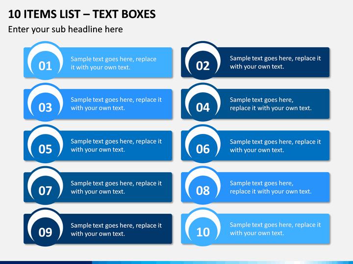10 Items List – Text Boxes PPT slide 1