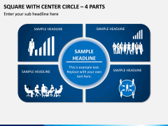 Square With Center Circle – 4 Parts PPT Slide 1