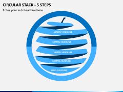 Circular Stack - 5 Steps PPT Slide 1
