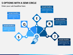 5 Options with a Semi Circle PPT slide 1
