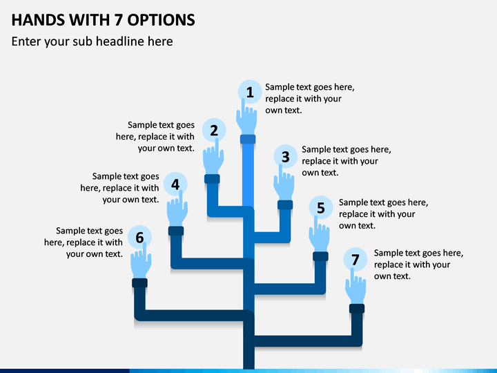 Hands with 7 Options PPT slide 1