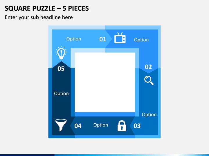 Square Puzzle – 5 Pieces PPT Slide 1