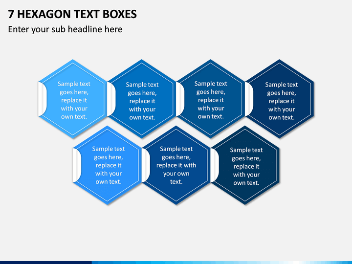7 Hexagon Text Boxes PPT slide 1