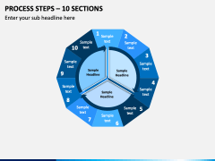 Process Steps – 10 Sections PPT slide 1