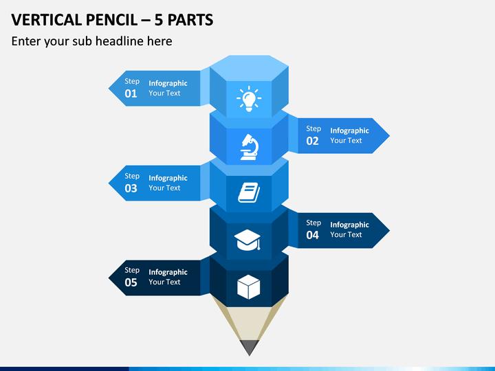 Vertical Pencil – 5 Parts PPT Slide 1