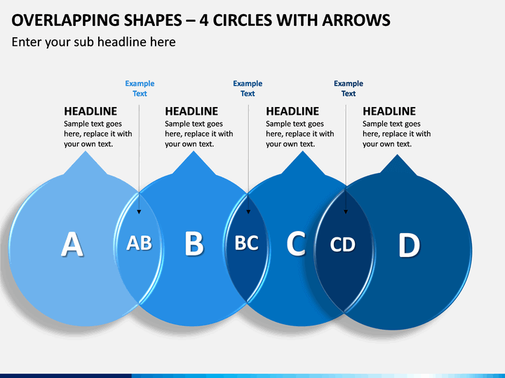 Overlapping Shapes – 4 Circles With Arrows PPT Slide 1