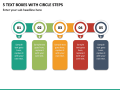 5 Text Boxes with Circle Steps PPT slide 2