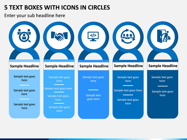 5 Text Boxes with Icons in Circles PPT slide 1