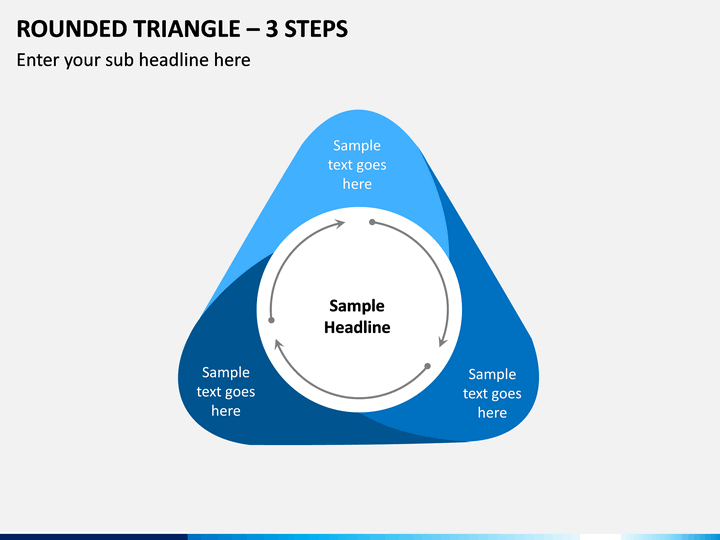 Rounded Triangle – 3 Steps PPT slide 1