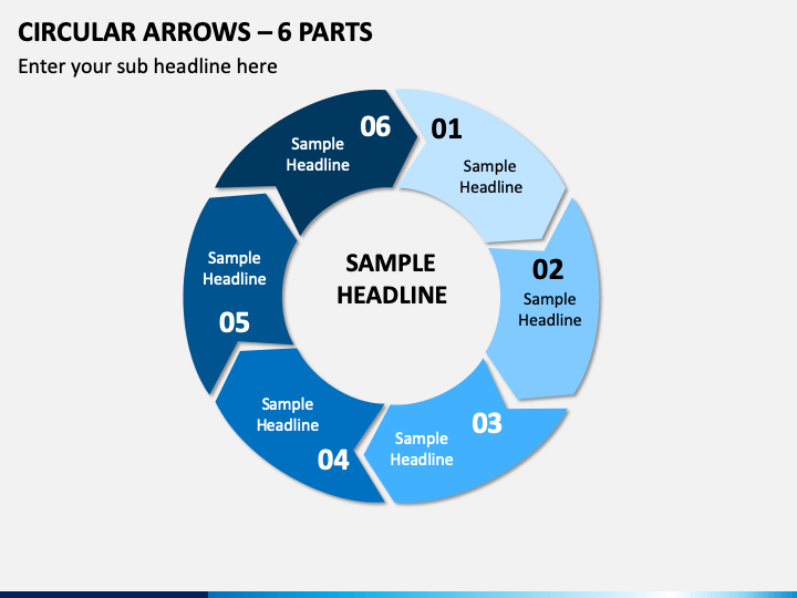 Circular Arrows – 6 Parts PPT Slide 1