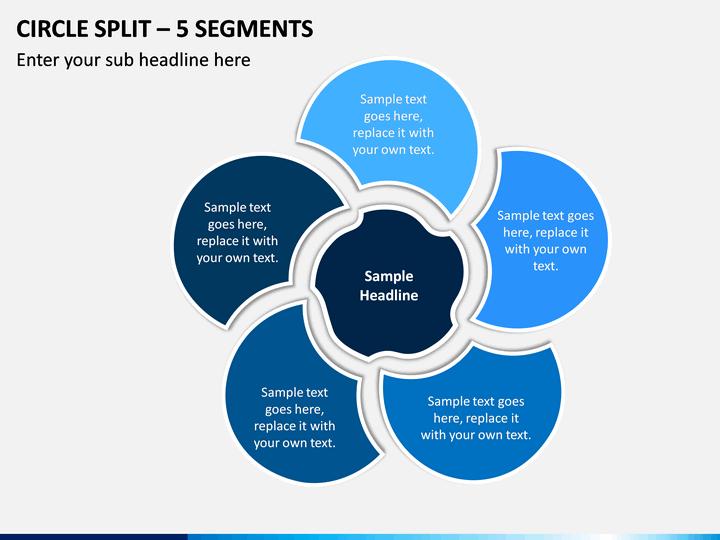 Circle Split – 5 Segments PPT slide 1