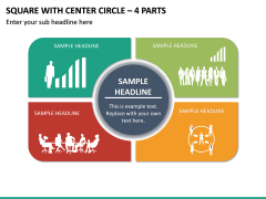 Square With Center Circle – 4 Parts PPT Slide 2