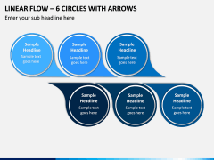 Linear Flow – 6 Circles with Arrows PPT slide 1