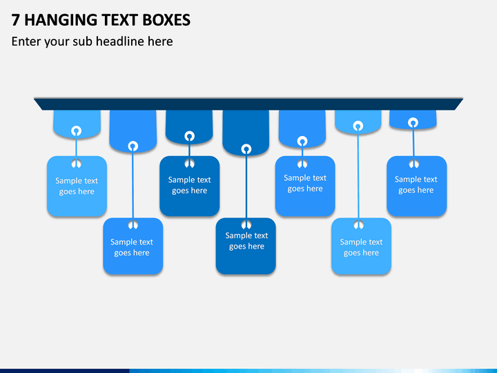7 Hanging Text Boxes PPT slide 1
