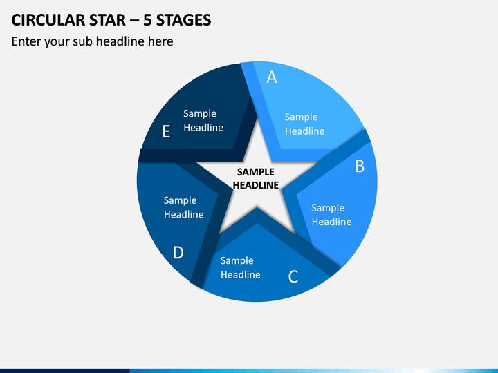 Circular Star – 5 Stages PPT Slide 1