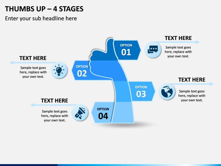 Thumbs Up – 4 Stages PPT Slide 1