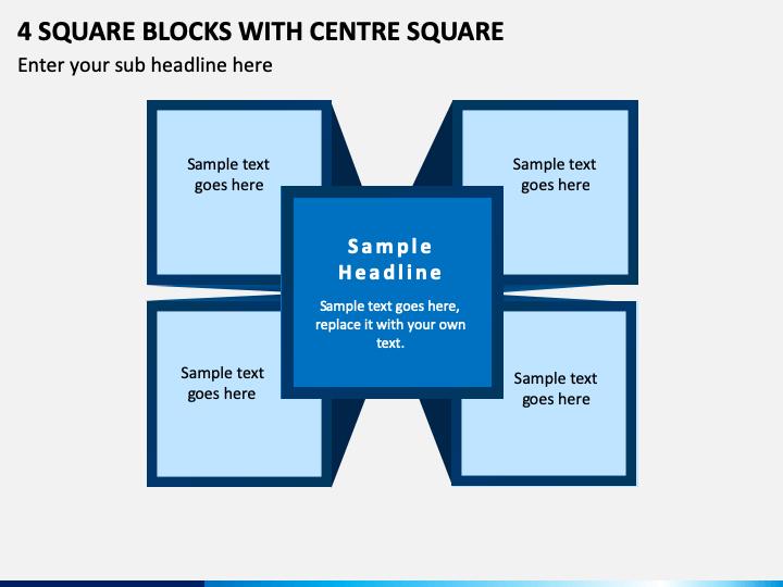 4 Square Blocks with Centre Square PPT slide 1
